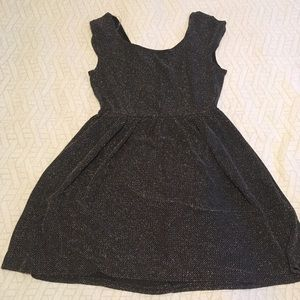 Silver and Black Metallic A-line Dress